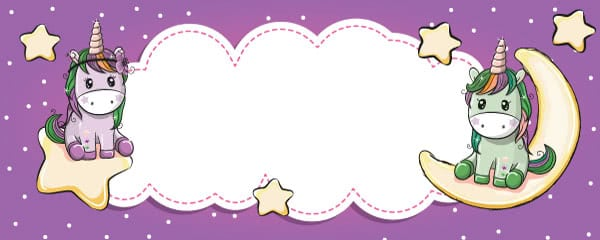Unicorn And Stars Kawaii Design Medium Personalised Banner - 6ft x 2.25ft