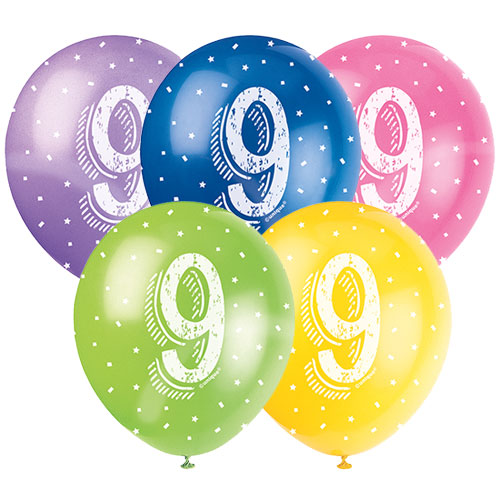 Age 9 Assorted Biodegradable Latex Balloons 30cm / 12Inch - Pack of 5