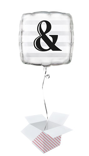 Ampersand Silver Square Foil Balloon - Inflated Balloon in a Box