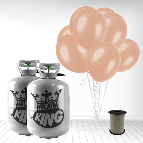 Disposable Helium Gas Cylinders with 60 Rose Gold Balloons and Curling Ribbon