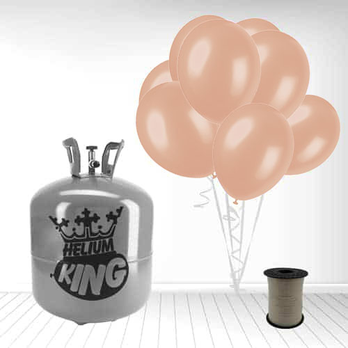 Disposable Helium Gas Cylinder with 50 Rose Gold Balloons and Curling Ribbon