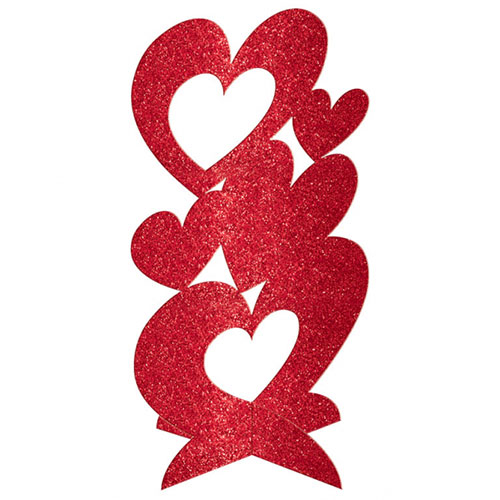 Glitter Valentines Hearts 3D Deluxe Centrepiece Table Decoration 29cm