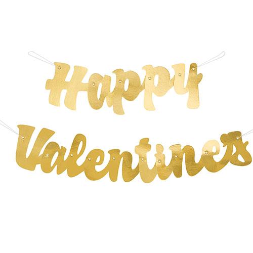 Foil Gold Script Happy Valentines Cardboard Banner 113cm