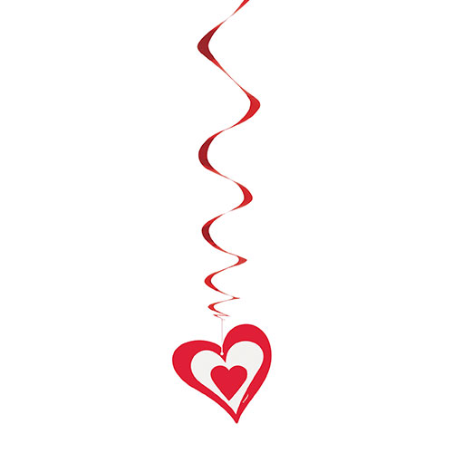 Valentines Red Hearts Swirl Hanging Decorations - Pack of 3