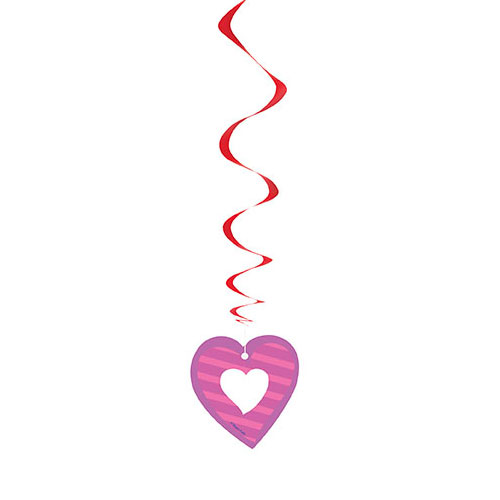 I Heart Valentine Swirl Hanging Decorations - Pack of 3