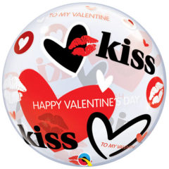 Kisses And Hearts Valentines Bubble Helium Qualatex Balloon 56cm / 22Inch