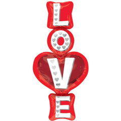 Love Stacked Valentines Day Supershape Helium Foil Balloon 99cm / 39Inch