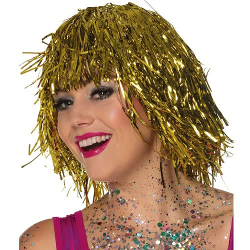 Metallic Gold Tinsel Wig