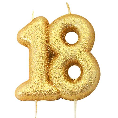 Number 18 Glitter Gold Pick Moulded Cake Candle 9cm
