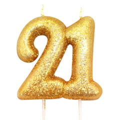 Number 21 Glitter Gold Pick Moulded Cake Candle 9cm