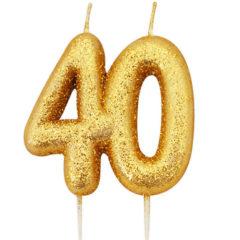 Number 40 Glitter Gold Pick Moulded Cake Candle 9cm