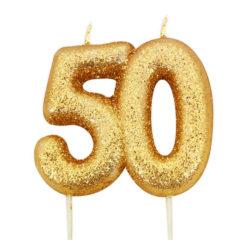 Number 50 Glitter Gold Pick Moulded Cake Candle 9cm