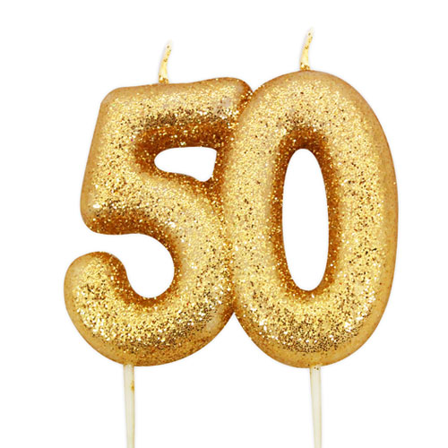 Number 50 Glitter Gold Pick Moulded Cake Candle 9cm