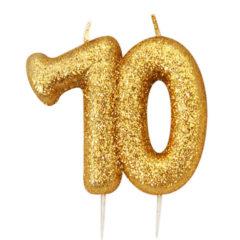 Number 70 Glitter Gold Pick Moulded Cake Candle 9cm