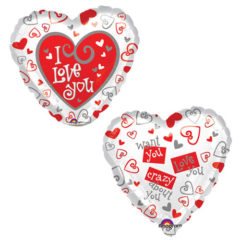 I Love You Two Sided Valentines Day Foil Helium Balloon 43cm / 17Inch