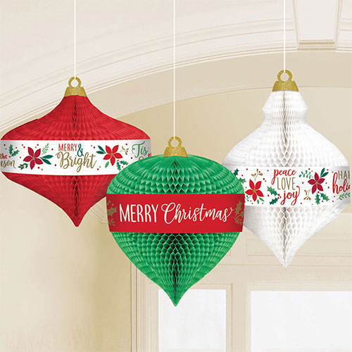 Traditional Christmas Honeycomb Hanging Decorations - Pack of 3