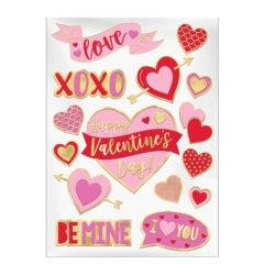 Valentines Embossed Window Stickers Sheet Decoration