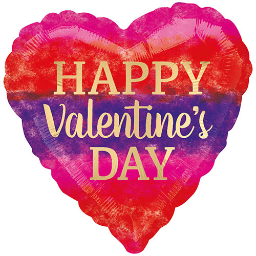 Watercolour Stripes Valentines Day Foil Helium Balloon 43cm / 17Inch