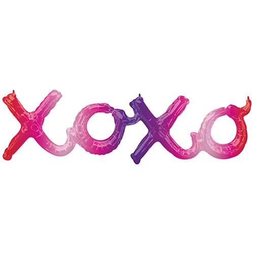 XOXO Ombre Phrase Valentines Day Supershape Air-Filled Foil Balloon 99cm / 39Inch
