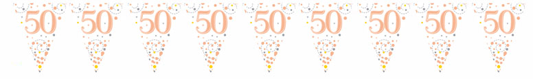 50th Birthday Rose Gold Holographic Foil Flag Bunting 3.9m