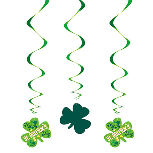 Argyle Happy St. Patrick's Day Swirl Hanging Decorations - Pack of 3