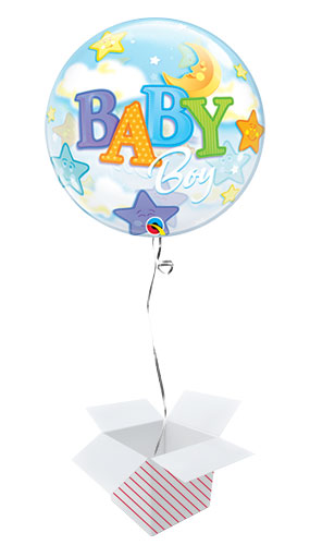 Baby Boy Moon And Stars Baby Shower Bubble Helium Qualatex Balloon - Inflated Balloon in a Box