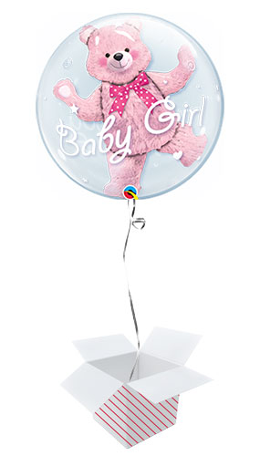 Baby Shower Pink Bear Baby Girl Double Bubble Helium Qualatex Balloon - Inflated Balloon in a Box