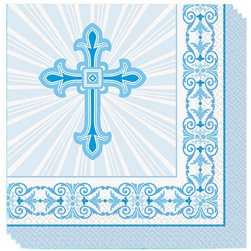 Blue Radiant Cross Communion And Confirmation Luncheon Napkins 33cm 2Ply - Pack of 16 Product Image