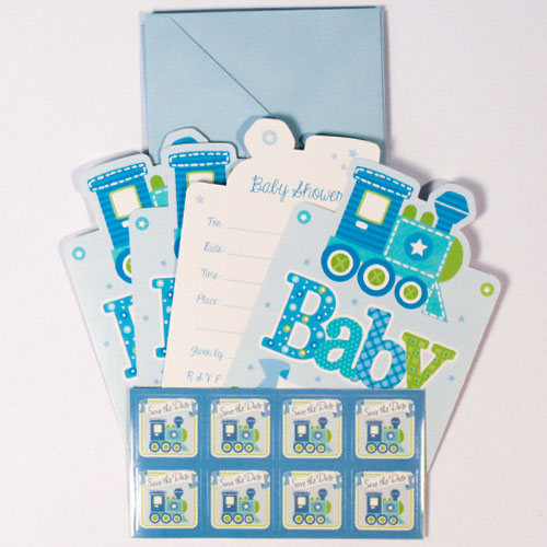 Blue Welcome Baby Boy Baby Shower Postcard Invitations With Envelopes - Pack of 8