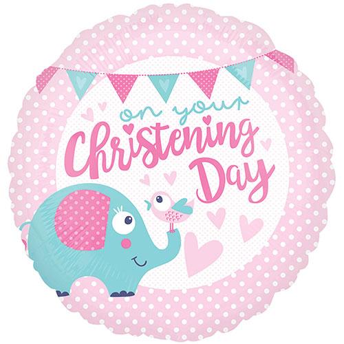 Christening Day Pink Round Foil Helium Balloon 43cm / 17Inch