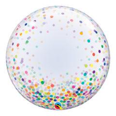 Colourful Confetti Dots Deco Bubble Helium Qualatex Balloon 61cm / 24Inch