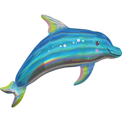 Dolphin Iridescent Holographic Supershape Helium Foil Balloon 73cm / 29Inch Product Image