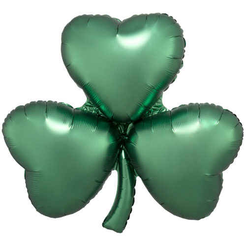 Emerald Shamrock Satin Luxe St Patricks Day Supershape Helium Foil Balloon 73cm / 29Inch