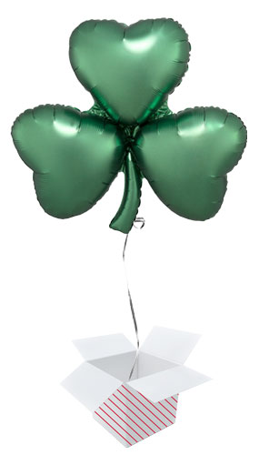 Emerald Shamrock Satin Luxe St Patricks Day Helium Foil Giant Balloon - Inflated Balloon in a Box