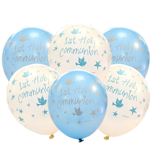 First Holy Communion Blue Printed Assorted Latex Helium Balloons 27cm / 11Inch - Pack of 6 Product Image