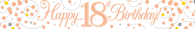 Happy 18th Birthday Rose Gold Holographic Foil Banner 2.7m