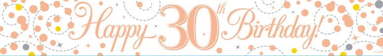 Happy 30th Birthday Rose Gold Holographic Foil Banner 2.7m