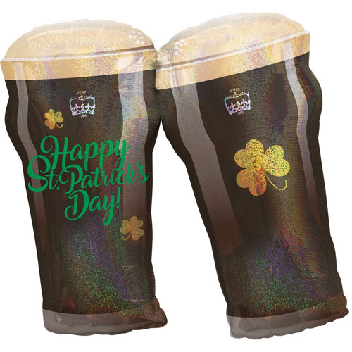 Happy St Patricks Day Beer Glasses Holographic Supershape Helium Foil Balloon 71cm / 28Inch