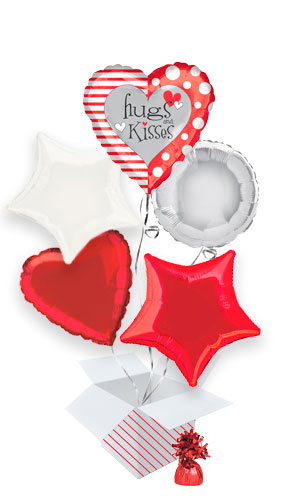Hugs And Kisses Valentine's Day Balloon Bouquet - 5 Inflated Balloons In A Box