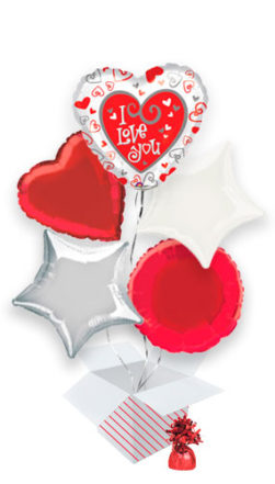 I Love You Two Sided Valentines Day Balloon Bouquet 5 Inflated Balloons In A Box Product Image