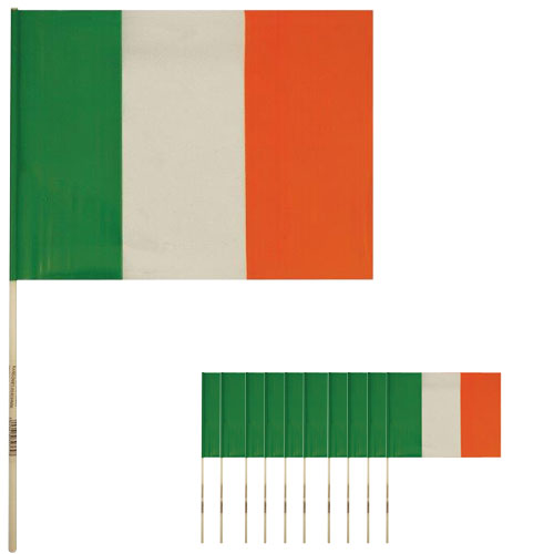 Ireland Hand-Held Plastic Flags 39cm - Pack of 12