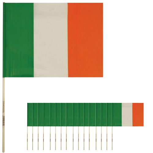 Ireland Hand-Held Plastic Flags 39cm - Pack of 25
