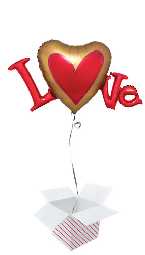 Love Satin Luxe Valentines Day Helium Foil Giant Balloon - Inflated Balloon in a Box Product Image