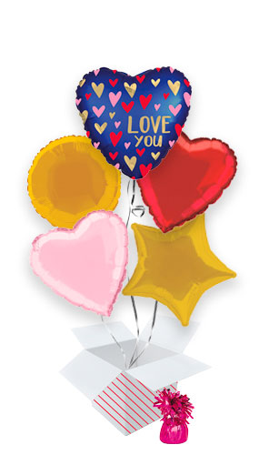 Love You Navy Valentine's Day Balloon Bouquet - 5 Inflated Balloons In A Box