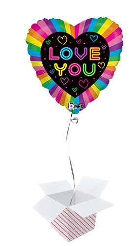 Neon Love You Foil Helium Balloon - Inflated Balloon in a Box