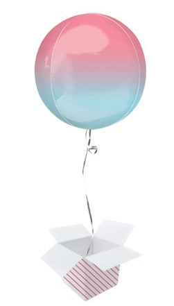Ombre Red And Blue Orbz Foil Helium Balloon Inflated Balloon in a Box Product Image
