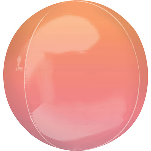 Ombre Red And Orange Orbz Foil Helium Balloon 38cm / 15Inch