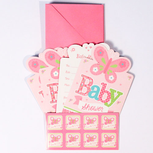 Pink Welcome Baby Girl Shower Postcard Invitations With Envelopes Pack Of 8