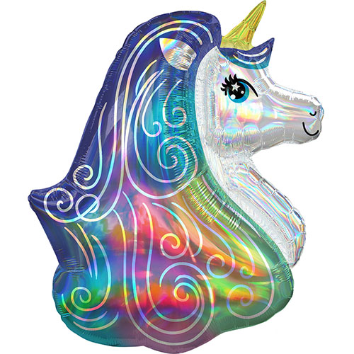 Rainbow Unicorn Iridescent Holographic Helium Foil Giant Balloon 76cm / 30 in