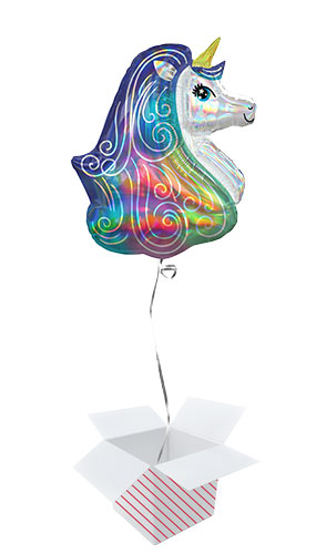 Rainbow Unicorn Iridescent Helium Foil Giant Balloon - Inflated Balloon in a Box
